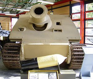 Sturmtiger - Sturmtiger in the Deutsches Panzermuseum. In the front is the main 380 mm caliber rocket-propelled projectile.