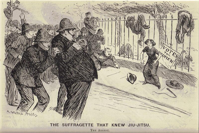 Les suffragettes, des femmes favorables aux droits de vote pour les femmes avaient pour le Jiu Jitsu comme technique de combat. Ici Margaret Garrud au combat.