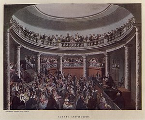 Goldsworthy Gurney - Lecture Hall of the Surrey Institution; Gurney was appointed lecturer here in 1822