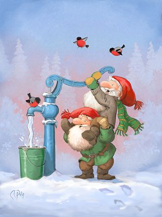 Nisse (folklore) - Swedish Christmas card featuring tomte