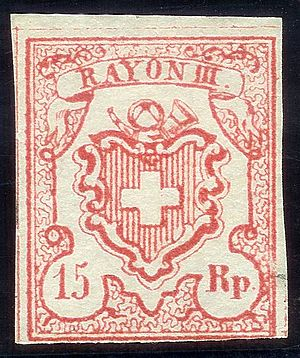 Local mail and rayon stamps of Switzerland - Image: Swiss Post Rayon III stamp 1852