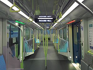 Sydney Metro - Interior of Sydney Metro train at 2017 Royal Easter Show