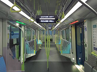 Transport in Australia - Sydney Metro Train Interior (Due to start operation in 2019)
