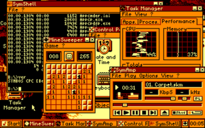 SymbOS - Screenshot of the SymbOS desktop on the Amstrad CPC