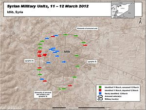 Battle of Idlib (2012) - Image: Syrian Military Units Battle Idlib City Syria March 2012