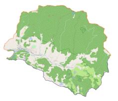 """Mapa konturowa gminy Szczawnica, blisko dolnej krawiędzi nieco na prawo znajduje się punkt z opisem """"Przejście graniczneJaworki-Stráňany"""""""