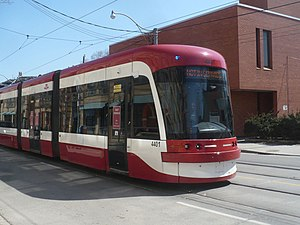 Toronto streetcar system rolling stock - The Bombardier Flexity Outlook being tested in Toronto.