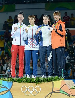 Taekwondo at the 2016 Summer Olympics – Women's 49 kg awarding ceremony 6.jpg