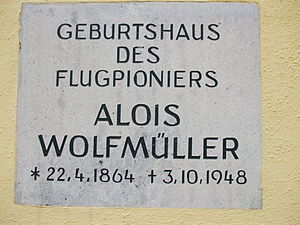 Alois Wolfmüller - Commemorative plaque in Landsberg am Lech