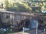 Taff Vale Railway Viaduct over Mill Street including masonry weir