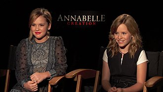 Annabelle: Creation - Talitha Bateman (left) and Lulu Wilson (right) discuss Annabelle: Creation in 2017