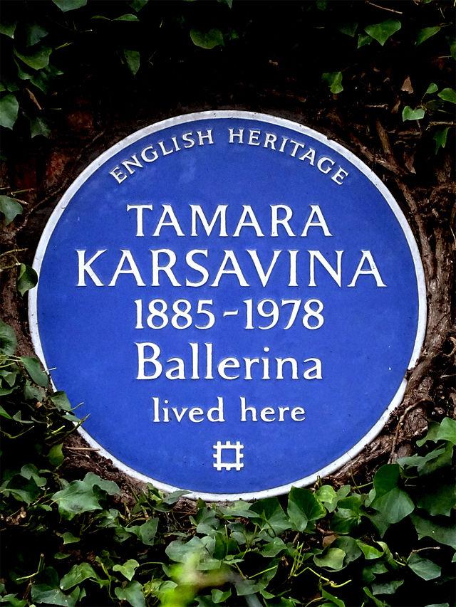 Tamara Karsavina blue plaque - Tamara Karsavina 1885-1978 ballerina lived here