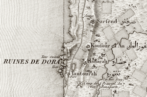Tantura - Jacotin's map showing Napoleon's visit in 1799