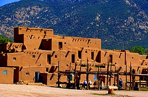 Human settlement - Taos Pueblo, an ancient pueblo belonging to a Taos speaking Native American tribe of Pueblo people. It is approximately 1000 years old and lies about 1 mile (1.6 km) north of the modern city of Taos, New Mexico.