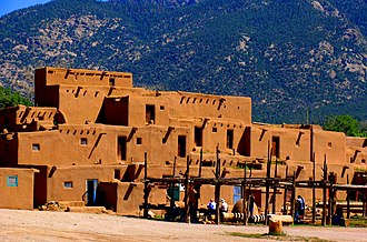 Human settlement - Taos Pueblo, an ancient pueblo belonging to a Taos-speaking Native American tribe of Pueblo people. It is approximately 1000 years old and lies about 1 mile (1.6 km) north of the modern city of Taos, New Mexico.