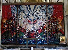 Altar designed by Robert Potter. Tapestry designed by John Piper. Icon of St Richard (bottom right) Sergei Fyodorov.