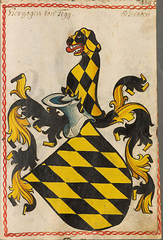 Duke of Teck - Coat of arms of the Dukes of Teck, Scheiblersches Wappenbuch, 1450-80