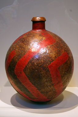 20th-century bottle, Twa peoples, Rwanda, Artistic works may serve practical functions, in addition to their decorative value. Teke bottle.JPG