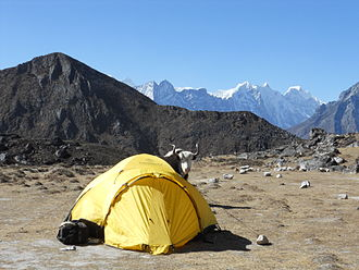 Tent used by mountaineers in Nepal Tent in Nepal.jpg