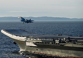 "Flight deck - A Su-33 ""Flanker D"" launches from the Russian Navy aircraft carrier ''Admiral Kuznetsov''"