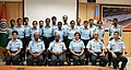 The Air Officer-in-charge Administration, Air HQs, Air Marshal H.B. Rajaram along with IAF all women cycle expedition team member during the flag in ceremony, at Air Force Station, in New Delhi on August 25, 2014.jpg