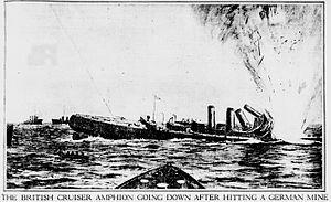 HMS Amphion (1911) - A fanciful drawing of Amphion sinking