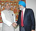 The Chief Minister of Bihar, Shri Nitish Kumar meeting with the Deputy Chairman, Planning Commission, Shri Montek Singh Ahluwalia to finalize Annual Plan 2007-08 of the State, in New Delhi on February 14, 2007.jpg