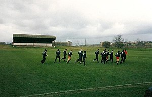 The Cliff (training ground) - Manchester United players warm up at The Cliff, 1992