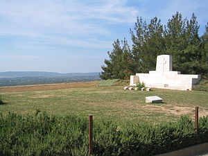 Battle of the Nek - The Nek Cemetery occupies much of the former battlefield; the white marble sculpture stands where the former Ottoman Turkish trench was