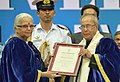 The President, Shri Pranab Mukherjee being conferred the Honorary D. Litt. degree by Goa University at the Annual Convocation of Goa University, in Goa.jpg