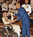 The President, Shri Ram Nath Kovind presenting the Padma Shri Award to Shri Pandit Shyamalal Chaturvedi, at the Civil Investiture Ceremony-II, at Rashtrapati Bhavan, in New Delhi on April 02, 2018.jpg