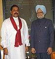 The Prime Minister, Dr. Manmohan Singh with the President of Sri Lanka, Mr. Mahinda Rajapaksa during Retreat Session at Munyonyo Commonwealth Resort, Kampala, Uganda on November 24, 2007.jpg