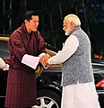 The Prime Minister, Shri Narendra Modi welcomes the King of Bhutan, His Majesty Jigme Khesar Namgyel Wangchuck, on his arrival, at 7, Lok Kalyan Marg, in New Delhi on November 01, 2017.jpg
