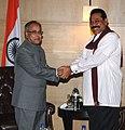 The Union Finance Minister, Shri Pranab Mukherjee meeting the President of Sri Lanka, Mr. Mahinda Rajapaksa, in New Delhi on June 08, 2010.jpg