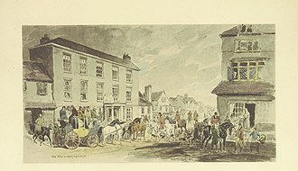 Reigate - The White Hart pub as depicted in a book on the London–Brighton road from 1894.