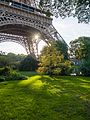 The base of the Eiffel Tower in the evening (29581940724).jpg