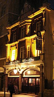 The once-notorious Blind Beggar pub in Whitechapel Road in quieter times. (November 2005)