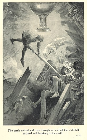 "Fisher King - Sir Balin stabs Pellam in the ""Dolorous Stroke"" in Lancelot Speed's illustration for James Knowles' The Legends of King Arthur and His Knights (1912)   ""The castle rocked and rove throughout, and all the walls fell crashed and breaking to the earth."""