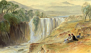 Chameria - The falls of the Thyamis by Edward Lear, 1851. Pencil and watercolour on paper, 16.50 × 26.00 cm.