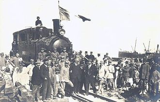 Italian diaspora - Arrival of the first Italian locomotive in Tripoli, Italian Libya, in 1912.