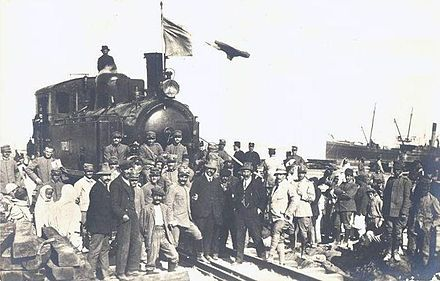 Arrival of the first Italian locomotive in the harbour of Tripoli, 1912 The first Locomotive arrived in Tripoli Harbor.jpg