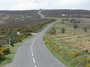Thorpe affair - The moorland road above Porlock Hill, close to the scene of the shooting