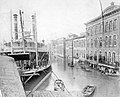 The steamer 'Bonanza', at the Portsmouth Ohio waterfront during the 1884 flood OldBoat 022519.jpg