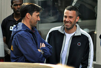 The Town (2010 film) - Jon Hamm and Ben Affleck chat on the set in Cambridge, Massachusetts