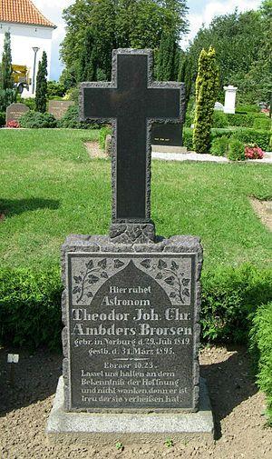 Theodor Brorsen - Brorsen's gravestone in the cemetery of Nordborg.