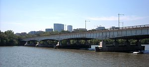 U.S. Route 50 in the District of Columbia - The Theodore Roosevelt Bridge over the Potomac River on I-66 and US 50, with the Rosslyn area of Arlington, Virginia, along the riverbank