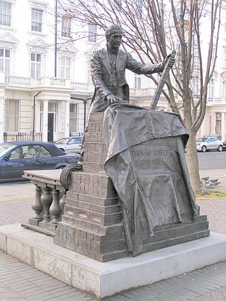 Thomas Cubitt - Statue of Thomas Cubitt by William Fawke, 1995.  Denbigh Street, London. The twin to this statue is in Dorking, Surrey.