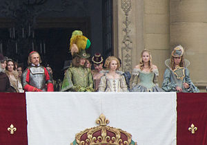 The Three Musketeers (2011 film) - Behind the scenes image of the filming of the movie. From left to right: Christoph Waltz, Freddie Fox, Juno Temple, Gabriella Wilde, Nina Eichinger