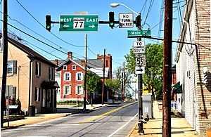 Thurmont, Maryland - Corner of Main and Water in downtown Thurmont.