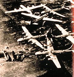 Damage to United States Air Force bombers from the first tornado.